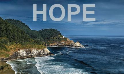 Photo of rocky shoreline with waves, lighthouse and word HOPE superimposed.